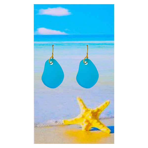 Sea glass Aqua Blue Earrings