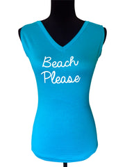 Beach Wedding Sleeveless V Neck Top-Choose Your Color and Quote