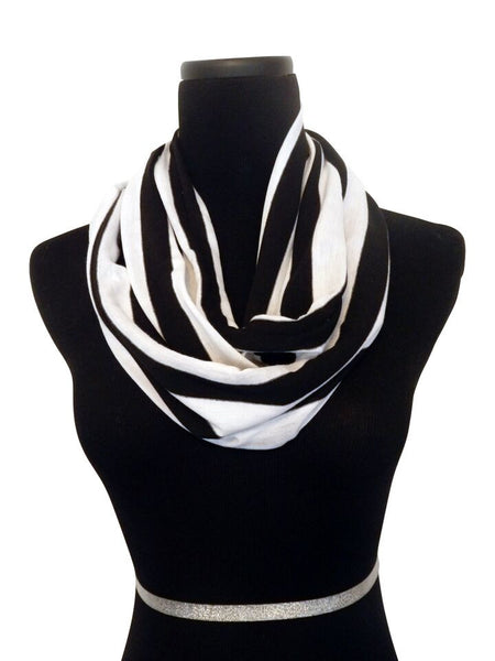 Cabana Black Stripe Infinity Scarf-Circle, Loop, Eternity All Seasons Scarf