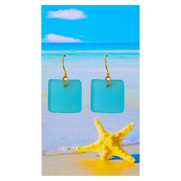 Bright Aqua Seaglass Earrings
