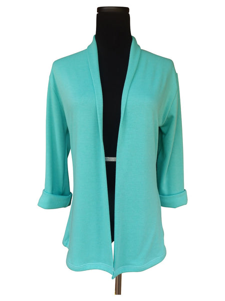 Palm Beach Aqua Shawl Cardigan Sweater with 3 Quarter Sleeves