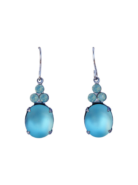 Aqua Clouds Earrings - Vintage Rhinestone Glass Jewel