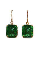 Emerald Seas Earrings - Vintage Rhinestone Glass Jewel