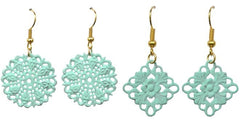 Vintage Filigree Circle Shabby Chic Earrings-Choose Your Color