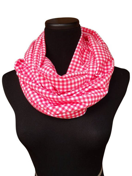 Red Gingham Infinity Scarf-Circle, Loop, Eternity All Seasons Scarf-1 LEFT