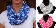 Grey Gingham Infinity Scarf-Circle, Loop, Eternity All Seasons Scarf-1 LEFT