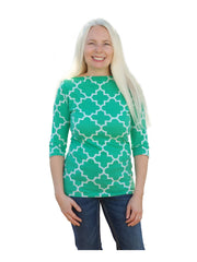 Kelly Green Harbor-Designer Womens Classic Boatneck Top