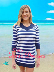 Navy Hamptons Stripe Tunic Dress with 3 Quarter Sleeves