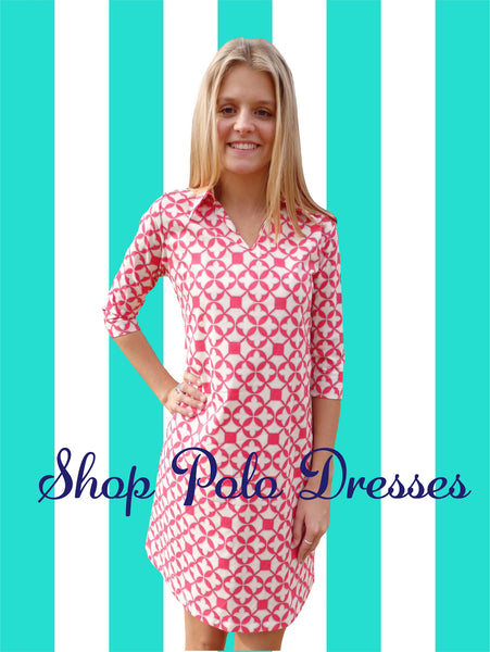 Coral Trellis Polo Dress