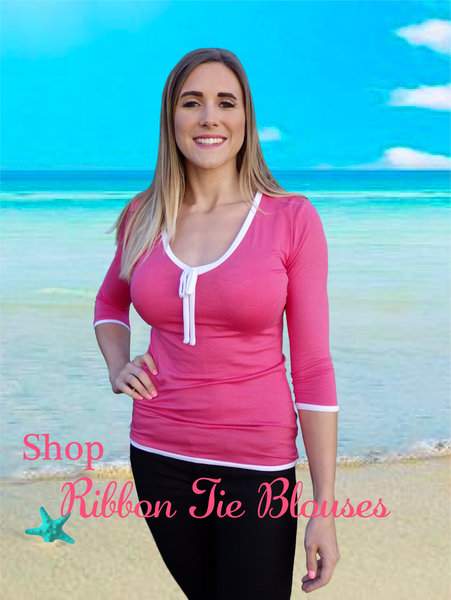 Hot Pink Ribbon Tie Designer Blouse