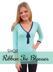 Aqua Blue Ribbon Tie Blouse