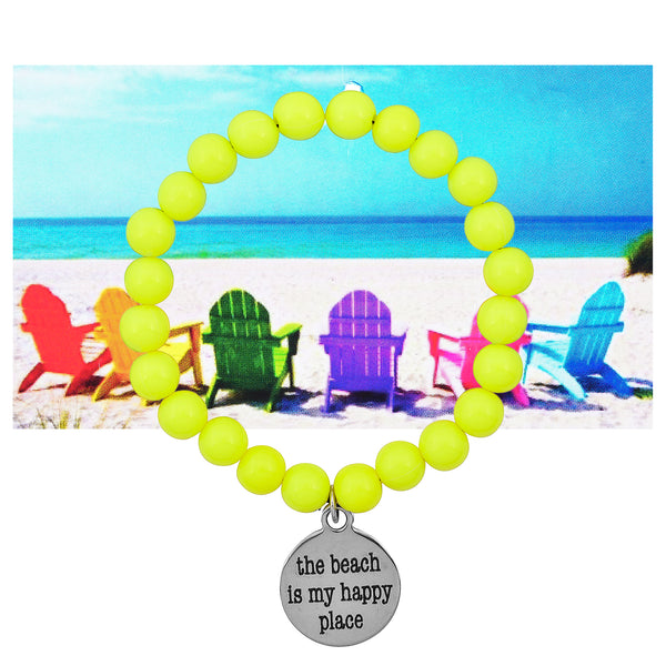 The Beach is My Happy Place Beaded Bracelet