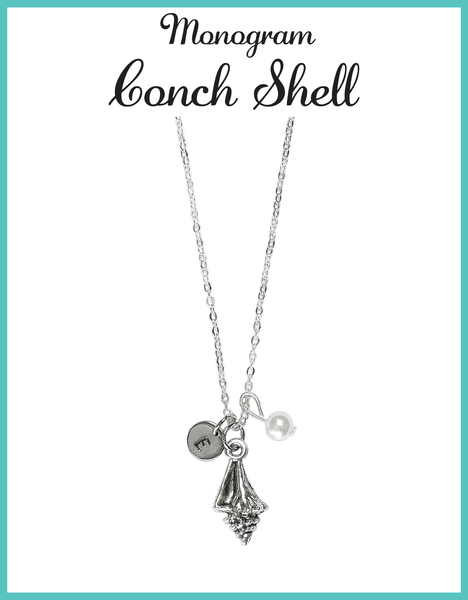 Custom Monogram Beach Conch Shell Necklaces