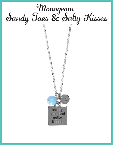 Custom Monogram Sandy Toes and Salty Kisses Necklaces