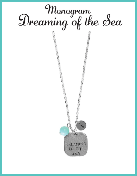 Custom Monogram Dreaming of the Sea Square Necklaces