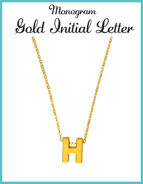 Custom Monogram Gold Initial Pendant Necklace Initial Necklace