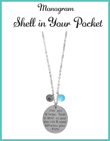 Custom Monogram Shell in Your Pocket Necklaces
