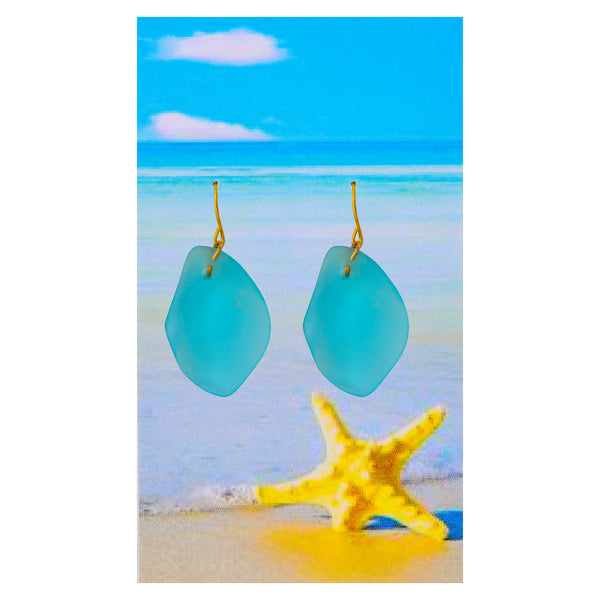 Sea glass Light Aqua Earrings
