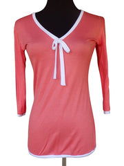 Light Coral Ribbon Tie Blouse