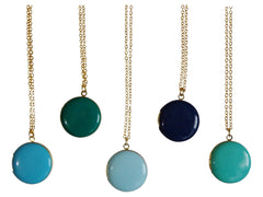 Circle Locket Necklaces-12 Color Choices
