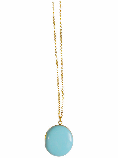 Light Blue Circle Locket Necklace