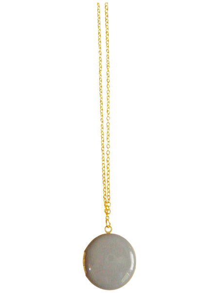 Light Gray Circle Locket Necklace
