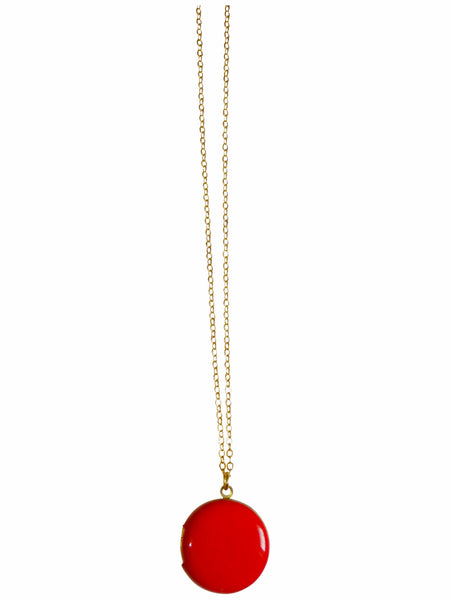 Red Circle Locket Necklace