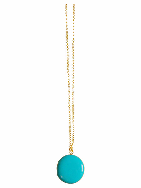 Turquoise Blue Circle Locket Necklace