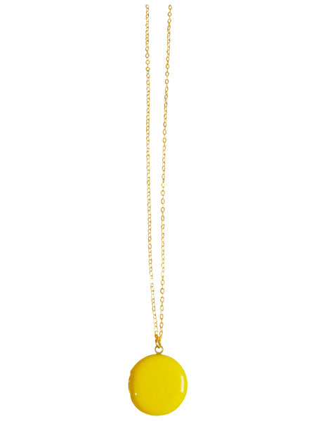 Yellow Circle Locket Necklace