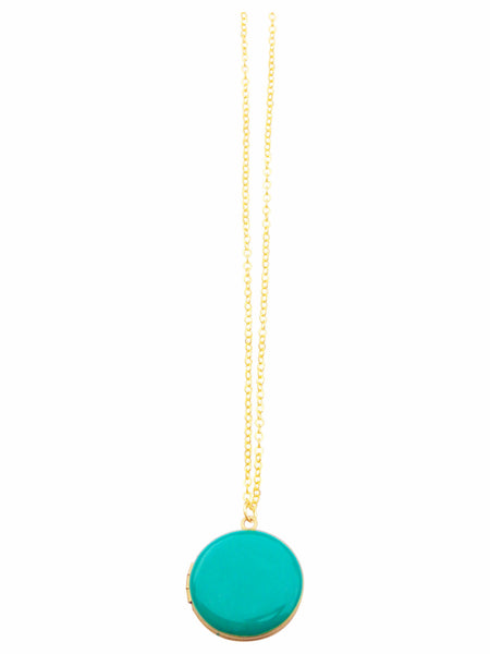Kelly Green Circle Locket Necklace