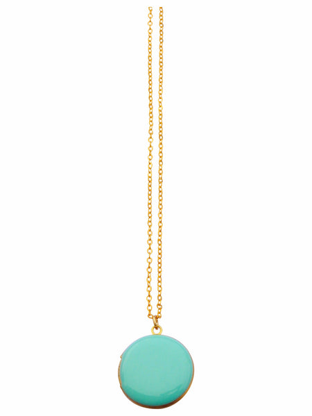Mint Green Circle Locket Necklace