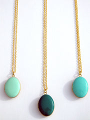 Kelly Green Oval Locket Necklace