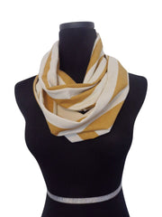 Cabana Mustard Stripe Infinity Scarf-Circle, Loop, Eternity All Seasons Scarf