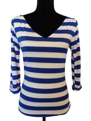 Nautical Chic Royal Blue Stripe V Neck Top