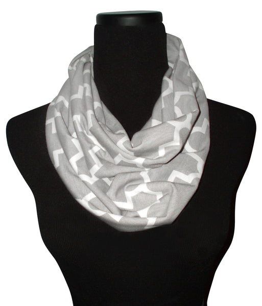 New York Skyscraper Quartrefoil Gray Infinity Scarf-Circle, Loop, Eternity All Seasons Scarf