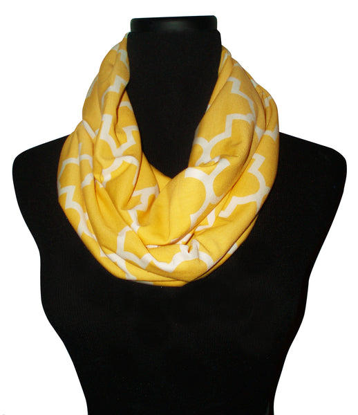 Light Mustard Yellow Quartrefoil Infinity Scarf-Circle, Loop, Eternity All Seasons Scarf