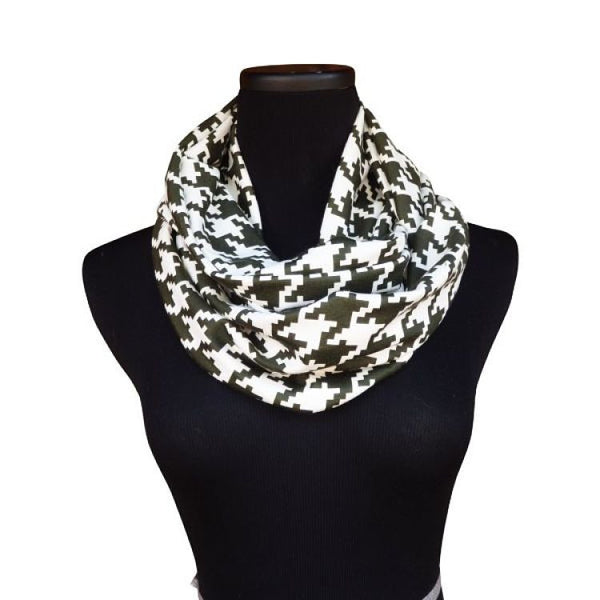 Forest Green Houndstooth Infinity Scarf-Circle, Loop, Eternity All Seasons Scarf