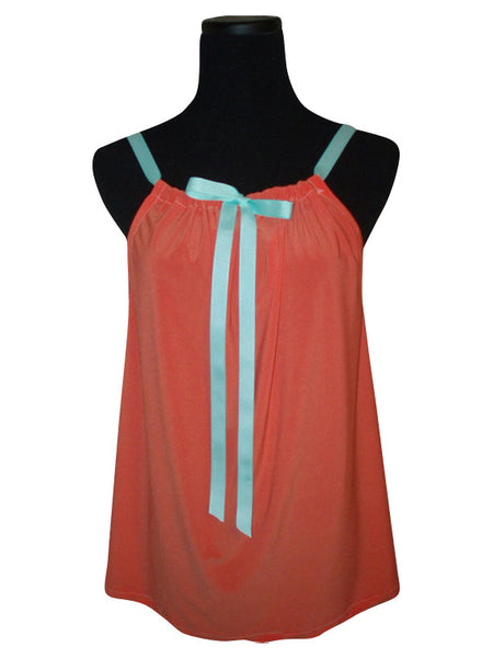 Orange Chiffon Ribbon Tie Tank Top