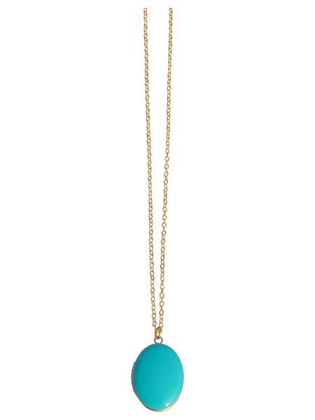 Aqua Oval Locket Necklace