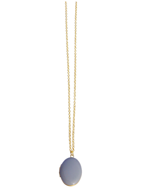 Gray Oval Locket Necklace
