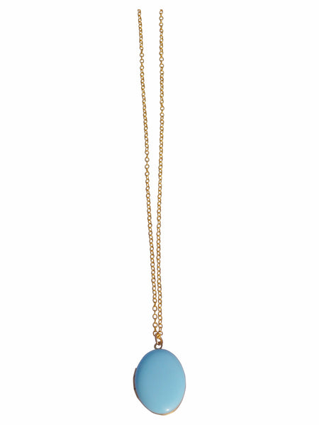 Light Blue Oval Locket Necklace