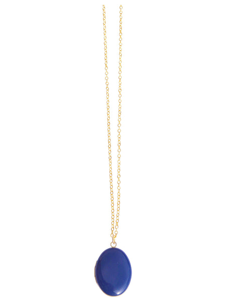 Navy Oval Locket Necklace