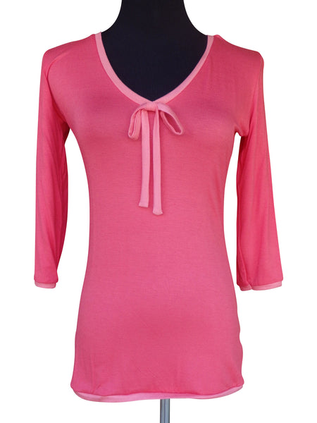 Bright Coral Ribbon Tie Blouse