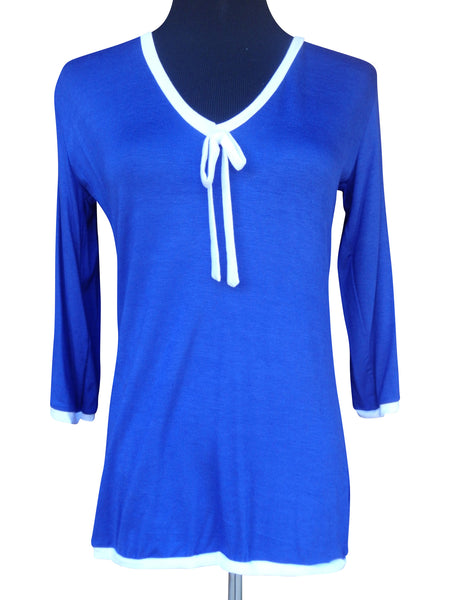 Royal Blue Ribbon Tie Blouse