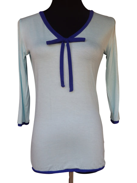 Light Blue Ribbon Tie Blouse