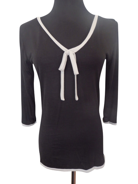 Black Ribbon Tie Blouse
