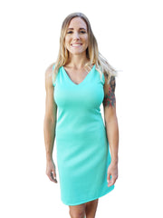 Seafoam Dreams Sleeveless V Neck Dress
