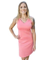 Paradise Pink Sleeveless V Neck Dress