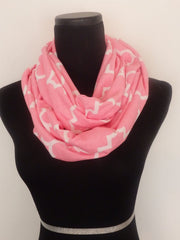 Light Pink Quartrefoil Infinity Scarf-Circle, Loop, Eternity All Seasons Scarf