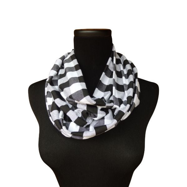 Black Plaid Infinity Scarf-Circle, Loop, Eternity All Seasons Scarf-